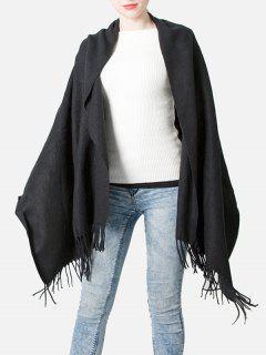 Elegant Black Fringed Long Scarf - Black