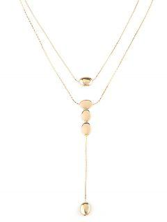 Double Layered Water Drop Chain Necklace - Gold