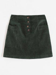 ZAFUL Corduroy Button Fly Pocket Skirt - Dark Green L