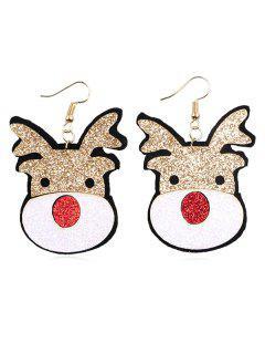 Christmas Elk Design Dangle Earrings - Multi