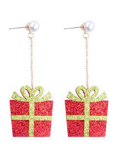 Faux Pearl Decor Christmas Present Earrings - Multi