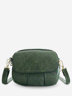 PU Leather Layered Design Crossbody Bag - Medium Spring Green