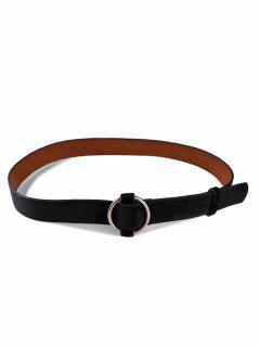 Metal Round Buckle Suede Dress Belt - Black