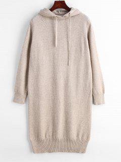 Hooded Long Sleeve Sweater Dress - Light Khaki