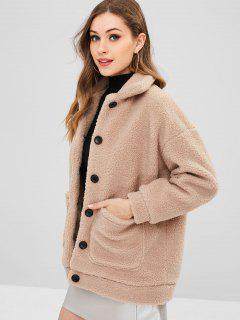 Patch Pocket Fluffy Faux Fur Coat - Camel Brown