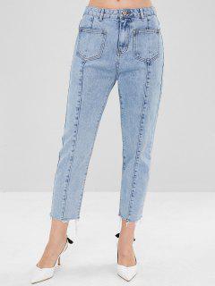 Patch Pockets Washed Mom Jeans - Denim Blue Xl
