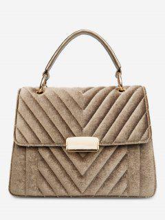 Suede Leather Cover Design Handbag - Gold