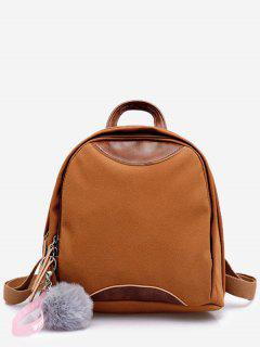 Fluffy Ball And Chinese Pattern Mini Backpack - Sandy Brown