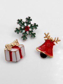 Christmas Present Bell Design Brooch - Gold