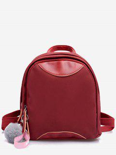 Fluffy Ball And Chinese Pattern Mini Backpack - Lava Red