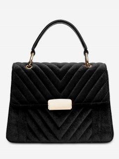 Suede Leather Cover Design Handbag - Black