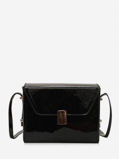 Magnet Hook Cover Design Crossbody Bag - Black