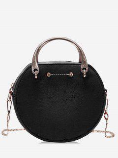 Circle Shape Suede Tote Bag - Black