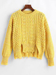 Drop Schulter Strick Strick Distressed Pullover - Gelb