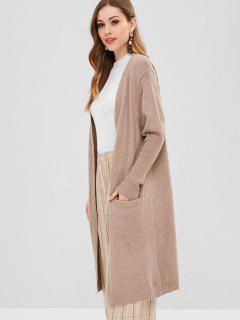 Open Front Long Cardigan - Camel Brown