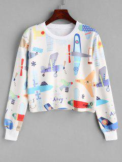 Airplane Print Graphic Cropped Sweatshirt - Multi S