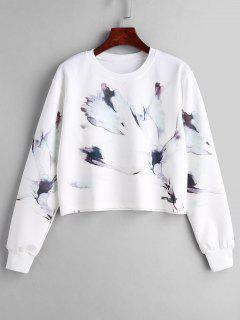 Pullover Marble Print Sweatshirt - White S
