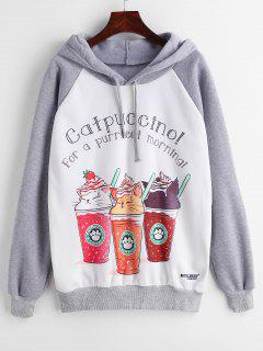 Coffee Print Raglan Sleeve Fleece Lined Hoodie - Multi L