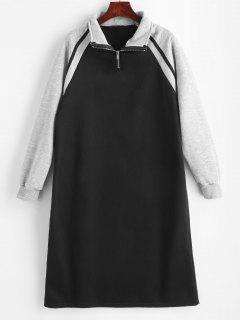 Vestido Casual Color Block Half Zip - Negro L