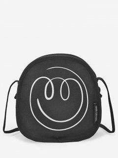 Smile Face Pattern Canvas Crossbody Bag - Black