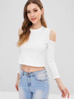 Camiseta De Punto De Cultivo De Hombro Frío Frío - Blanco M