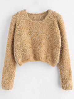 Textured Fluffy Cropped Sweater - Multi
