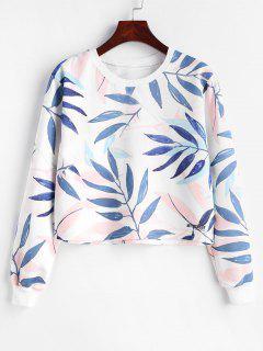 Blatt-Druck-Grafik Abgeschnittenes Sweatshirt - Weiß S