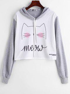 Kitten Print Cropped Graphic Pullover Hoodie - Multi M