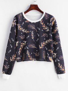 Goldener Blatt-Print-Pullover Zugeschnittenes Sweatshirt - Multi S