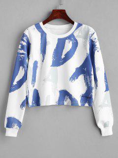 Random Letter Graphic Cropped Sweatshirt - Blue M
