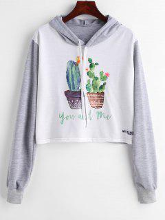 Pot Plants Print Cropped Graphic Hoodie - Multi S