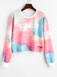 Tie Dye Cropped Pullover Sweatshirt - Multi M