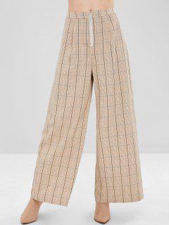ZAFUL Plaid Wide Leg Front Zip Pants - Light Khaki Xl