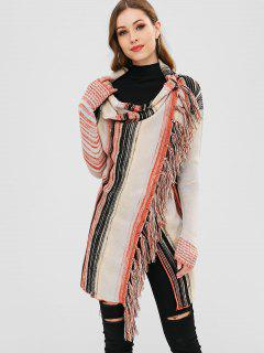 Striped Tassels Cape Cardigan - Multi S