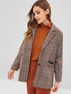 Button Up Plaid Lapel Coat - Dark Khaki M