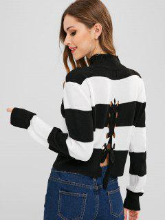 Lace Up Back Two Tone Sweater - Black M