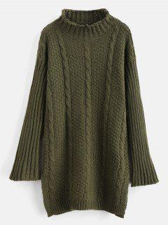 Cable Knit Side Slit Long Sweater - Army Green