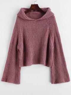 Hooded Flare Sleeve Plain Sweater - Velvet Maroon