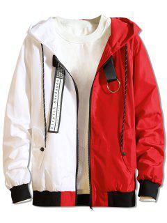 Color Block Letter Patchwork Hooded Jacket - Red Xl