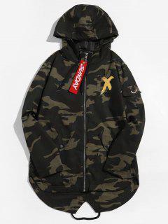 Camouflage Printed Back Split Hooded Jacket - Gold M