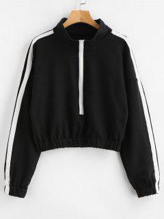 Side Striped Loose Crop Sweatshirt - Black S
