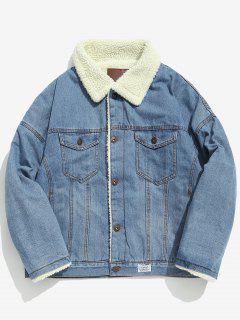 Faux Fur Lined Thick Denim Jacket - Denim Blue M