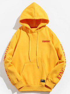 Kung Fu Graphic Fleece Lined Hoodie - Bee Yellow M