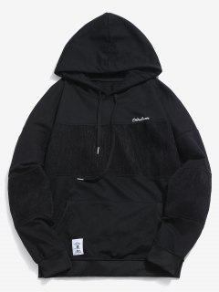 Loose Fit Striped Pullover Hoodie - Black L
