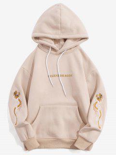 Embroidery Dragon Sleeves Kangaroo Pocket Fleece Hoodie - Apricot M