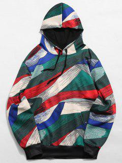 Abstract Art Design Pullover Drawstring Hoodie - Multi-a S