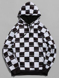 Plaid Print Color Block Casual Hoodie - Black Xl