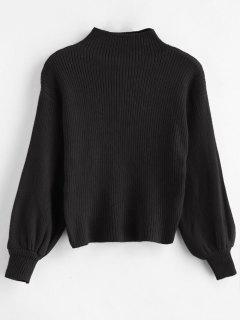 Suéter Con Cuello En Canalé Y Manga Acanalada - Negro