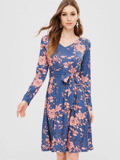 Vestido Floral Con Cinturón A Line - Multicolor Xl