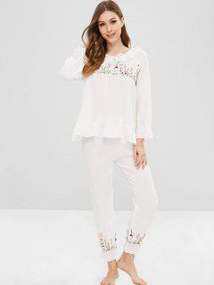 Ensemble De Pyjama Fleur Brodée à Volants Avec œillet - Blanc M